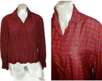 SALE Vintage Silk Blouse 1960s Red Silk Geometric Pattern Blouse High Quality Classic Secretary Boho Equestrian M chest to 39 inches
