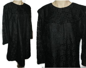 SALE Vintage 1960s Dress Black Lace A Line Mod Dress Taffeta Lace Dress Large Shawl Collar XL chest + hips to 45 inches