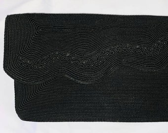 Vintage Corde Purse Small 1940s Asymetric Black Corde Clutch Evening Bag Art Deco Film Noir 8.75 x 4.5 in.