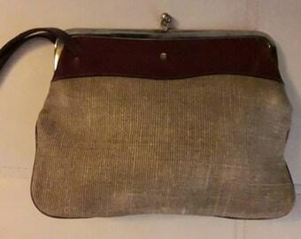 Vintage Designer Purse 1970s Etienne Aigner Oxblood Leather Natural Woven Fabric Wrist Purse Wristlet Hippie Boho AS IS
