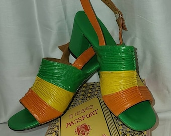 Vintage 1960s Sandals Bright Green Yellow Orange Leather Chunky Heel Slingback Sandals Buckles with Box Passports Spain Mod 5 1/2 M