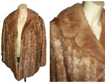 SALE Vintage Mink Coat 1950s 60s Light Brown Mink Fur Jacket Shorn Mink Fluffy Mink Collar Glamour Unique Patterns Satin Lined M L