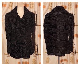 SALE Vintage Fur Jacket 1960s 70s Black Broadtail Persian Lamb Fur Jacket Fur Coat Slight Peplum Waist Boho M L chest to 40 in