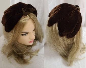 Vintage 1950s Hat Small Brown Velvet Half Hat Clamp Hat Petals Rockabilly