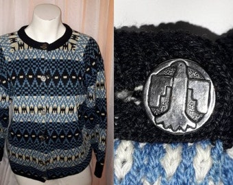Vintage Jantzen Sweater 1950s 60s Blue Patterned Ski Sweater Made in Canada Thunderbird Buttons Collectible Boho L small mends