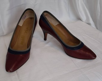 Vintage 50s Pumps Maroon Leather Navy Suede High Heels Palizzio Rockabilly 5 1/2 M