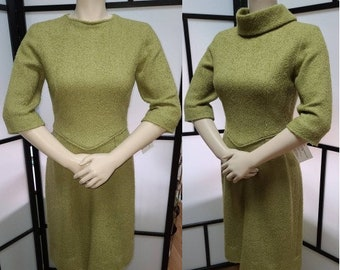 Vintage 1950s 60s Pencil Dress Green Wool Boucle Wiggle Dress Rockabilly S chest 36 in.