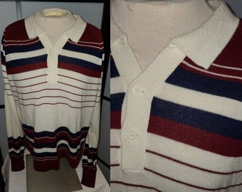 Vintage Men's Sweater 1970s Thin Acrylic Maroon Blue Cream Striped Pullover Ultra Soft JC Penney Boho Mod L XL chest 48 in.