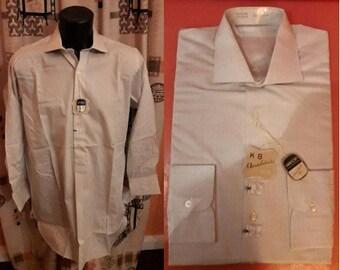 Unworn Vintage Men's Shirt 1950s Beige White Long Sleeve Shirt Notched Collar NWT Cotton Dress Shirt Subtle Plaid German Rockabilly M