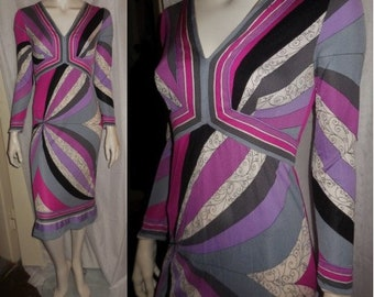 Vintage 1960s 70s Designer Dress Emilio Pucci Silk Jersey Dress Pink Purple White Geo Pattern Signatures Mod Boho S M chest to 37 in.