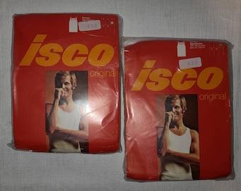 DEADSTOCK Vintage Men's Undershirts Two 1970s White Ribbed 100%  Cotton Tank Undershirt NWT NIP Rockabilly M