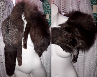 Vintage Fox Fur Stole 1930s 40s 50s Full Body Silver Fox Stole Wrap with Head Glamour Flapper Art Deco Fur on Belly 46 in long