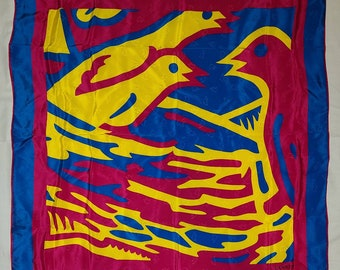 Vintage Designer Scarf Large 1990s Lanvin Bright Colored Silk Scarf Abstract Birds and Nest Print Boho 34 x 35 in.