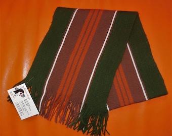SALE Vintage Men's Scarf 1960s Green Orange Brown Striped Long Acrylic Scarf Fringe Mod 50 x 10 in.