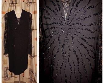 SALE Vintage 1960s Dress Black Wool Crepe Starburst Bead Design Sheer Lace Sleeves Creation de Paris Cocktail Dress Mod L XL chest 42