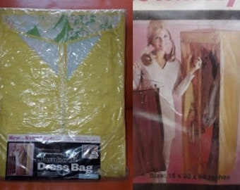 Unused Vintage Dress Bag 1960s Yellow Floral Vinyl Hanging Closet NIP Clothing Storage Bag USA Mod 15 x 20 x 54 in.