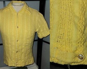 Vintage Men's Shirt 1950s Yellow Cotton Shirt Jack Open Weave Jayson Rockabilly S M 15 15 1/2