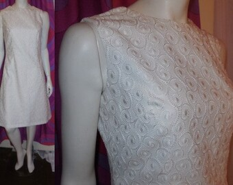 Vintage 1960s Dress Creamy White Embroidered Cotton Blend Summer Dress Unique Circular Embroidery Wedding Bridal Mod M chest to 38 in.