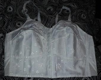 Unworn Vintage Bra 1960s Triumph White Embroidered Cotton Front Fasten Longline Bra NWT Rockabilly Pinup XXL 105 46 C D