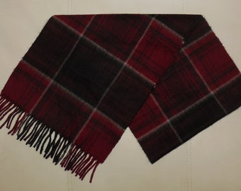 SALE Vintage Cashmere Scarf Red Black Plaid Fringe Scarf Glen Saxon Made in Scotland Rockabilly Kashmir Schal 60 inches long
