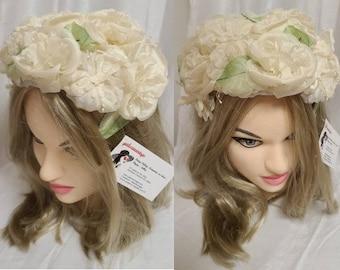 Vintage 1950s Hat White Floral Half Hat Church Hat Rockabilly Wedding Bridal
