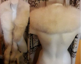Vintage Fox Fur Stole 1950s Creamy White Fox Fur Stole Wrap Double Tails Lush Glamour Satin Lining Deco Burlesque Wedding stained lining