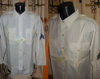 DEADSTOCK Vintage Men's Police Shirt 1960s 70s White Police Shirt Conqueror Sergeant Patches NWT Unworn L chest to 48 in. some storage marks