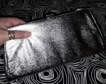 Vintage 1960s Purse Small Silver Metallic Foil Evening Bag Clutch with Handle USA Rockabilly Mod Space Age 10.5 x 5 in.