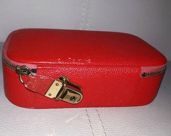 Vintage Jewelry Case 1950s Small Hard Red Pebbled Leather Jewelry Travel Box Black Velvet Lining Rockabilly