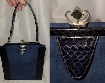 Vintage 1930s 40s Purse Dark Blue Snakeskin Suede Top Handle Bag Art Deco Rockabilly