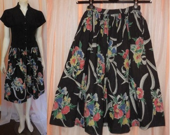 Vintage 1950s Skirt Black Cotton Fabric Colored Floral Ribbon Bow Print Full Skirt German Rockabilly S waist to 25.5 in.