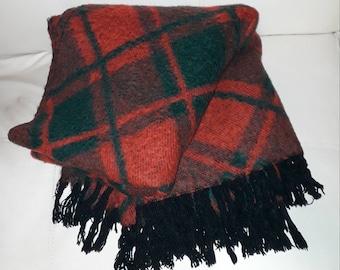 Vintage Mohair Blanket 1950s 60s XL Red Green Diamond Plaid Mohair Wool Fringe Christmas German 50er Decke Karo Rockabilly 59 x 70 in.