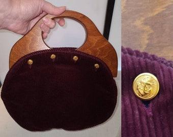 Vintage Bermuda Bag 1970s 80s JG Hook Dark Maroon Corduroy Gold Nautical Buttons Wood Handles Preppy Boho