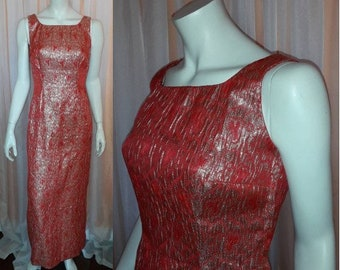 Vintage 1960s Dress Long Red Gold Metallic Abstract Pattern Evening Gown Mod Boho S chest to 37 in.