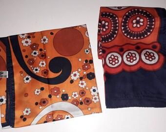 Lot of 2 Vintage Scarves 1960s 70s Abstract Op Art Floral Print Silk Polyester Scarves Orange Black One Long Vintage Scarf Boho
