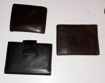 Lot of 3 Men's Vintage Wallets 1960s thru 80s Leather Wallet Billfold Shades of Brown German European Portmonaie