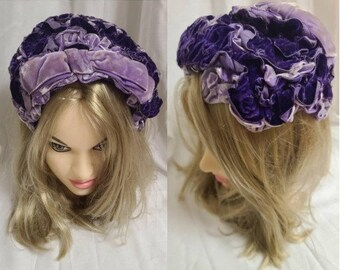 Vintage 1950s Hat Purple Lilac Velvet Ruffled Clamp Half Hat Bow Rockabilly
