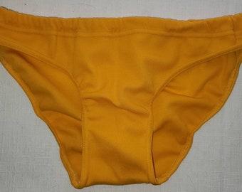 Vintage Bikini Bottoms 1970s 80s Bright Yellow Nylon Bikini Bottoms East German Mod Boho S