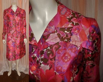 Vintage Designer Dress 1960s Pink Purple Silk Psychedelic Print Dress Jacques Esterel Paris Large Collar Mod M chest to 39 in.