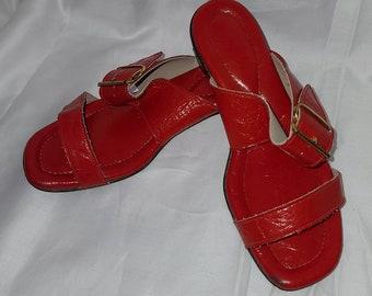 Vintage 1960s 70s Sandals Shiny Red Vinyl Slip Ons Slides Gold Buckles Chunky Heel Gustav Mod 6 6 1/2 M