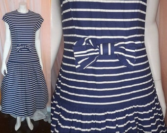 Vintage 1960s Dress Navy Blue and White Striped Cotton Summer Dress Full Skirt Bow USA Nautical Rockabilly M chest to 38 in.