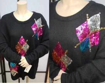 Vintage 1980s Sweater Black Angora Pullover Large Multicolor Sequin Diamond Designs Boho XL chest 44 in.