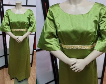 Vintage 1960s Dress Long Chartreuse Green Satin Gown Gold Metallic Ribbon Trim Unique Sleeves Boho M chest 38 in.