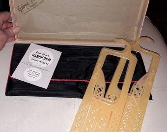 Unused Vintage Glove Bag 1950s Black Fabric Glove Valet by HandiformNIB with 2 Sets Plastic Glove Dryers USA Rockabilly