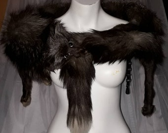 Vintage Fox Fur Stole 1950s Full Body Silver Fox Stole Wrap with Head Glamour Flapper Art Deco Fur on Belly 49 in long