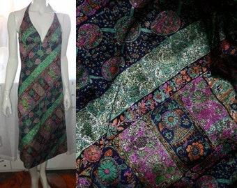 Vintage Halter Dress 1960s 70s Thin Slinky Polyester Dress Bright Abstract Pattern Boho Beach Cruise German Strandkleid Benger Ribana M