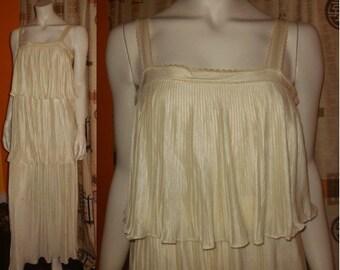 Vintage 1960s Dress Long Cream Satin Grecian Column Dress Pleated Ruffled 3 Tiers 1920s Style Flapper Boho Wedding Bridal S