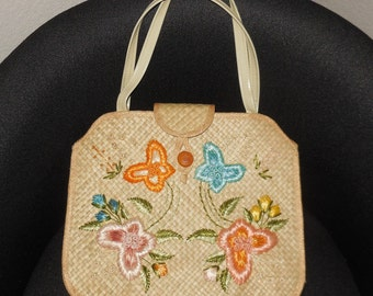 Vintage 1960s Purse Large Straw Handbag Bright Embroidered Butterfly Floral Motif Bags by Whitby Rockabilly Boho