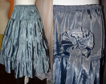 SALE Vintage Full Skirt Iridescent Blue Tiered Swingy Skirt Large Fabric Flower Ribbons Petticoat Rockabilly Boho M waist to 29 in.