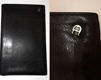 Men's Designer Vintage Wallet 1970s 80s Etienne Aigner Leather Billfold Document Holder Dark Brown Black Leather
